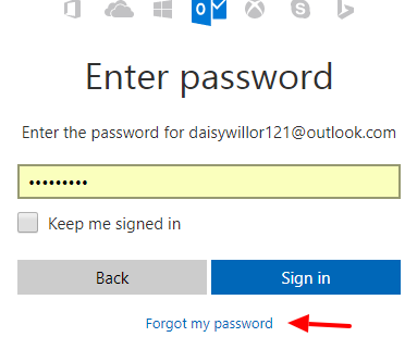 outlook email forgot password