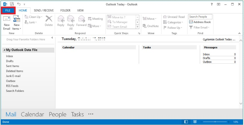 outlook 2016 file option