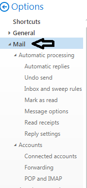 MSN mail option