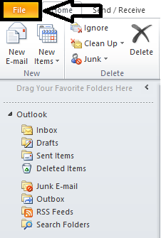 file option outlook 2010