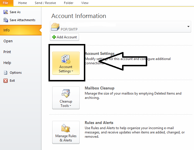 account tab in outlook