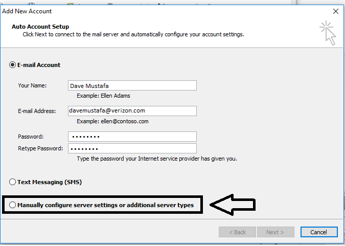 account form in outlook