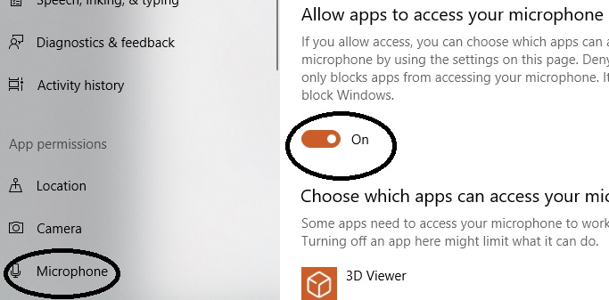 microphone on in windows setting