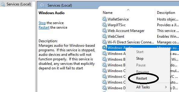 restart audio services in windows