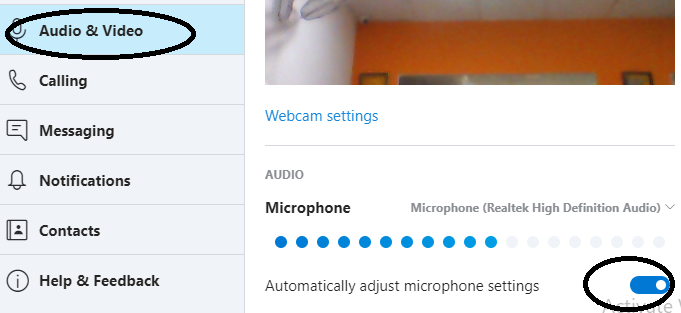 skype audio video setting