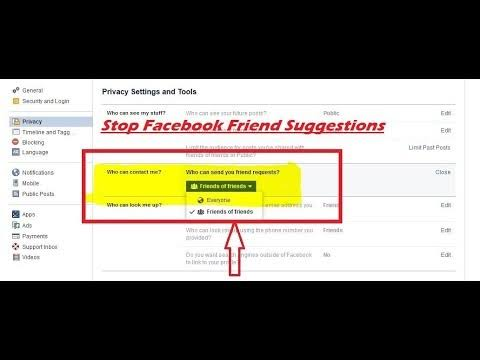 turn off friend suggestions on Facebook