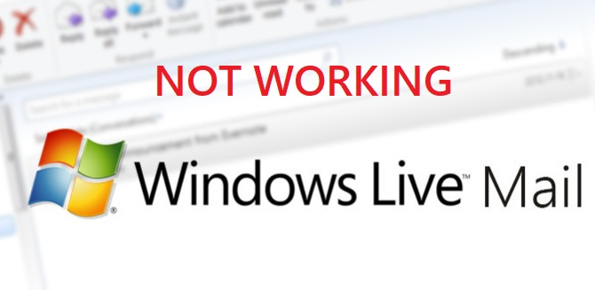 windows live mail not working