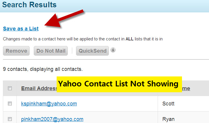 Yahoo contact list not showing